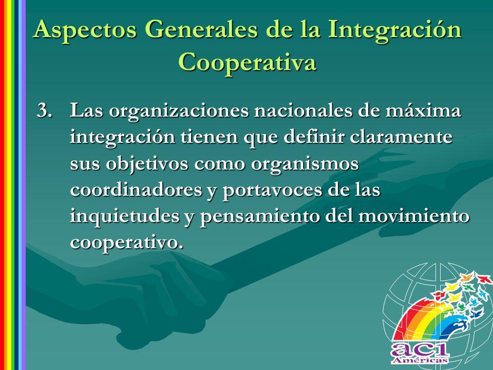 Aspectos Generales de la Integración Cooperativa 3.Las organizaciones nacionales de máxima integración tienen que definir claramente sus objetivos com
