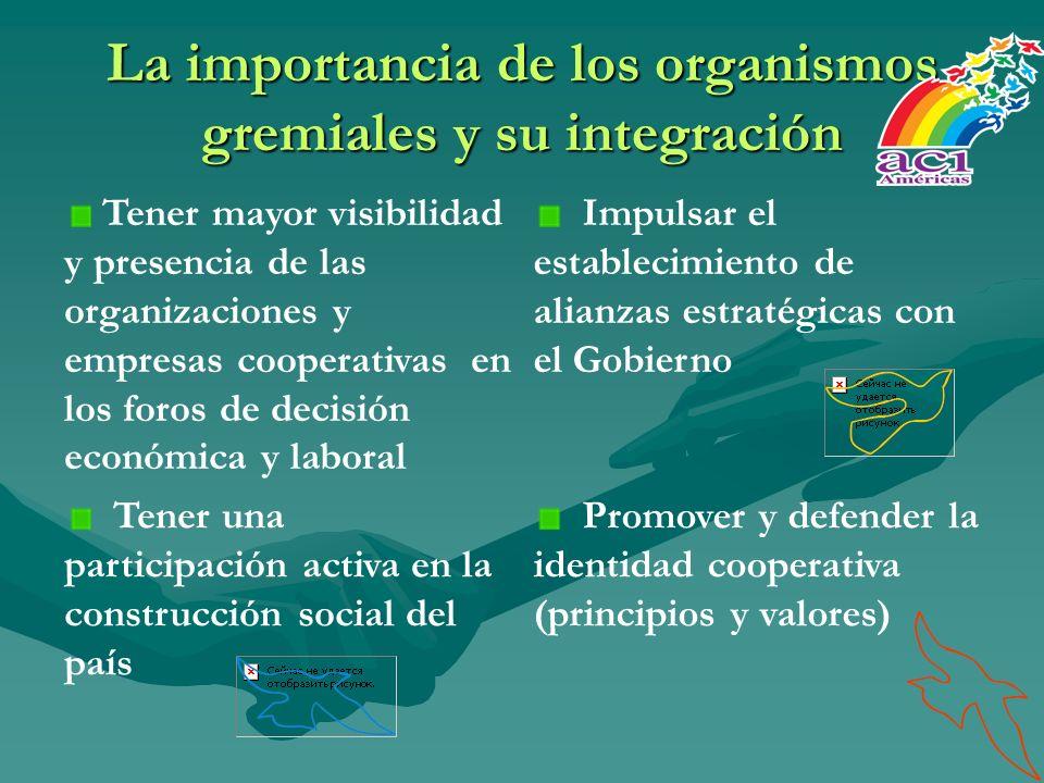 La importancia de los organismos gremiales y su integración Tener mayor visibilidad y presencia de las organizaciones y empresas cooperativas en los f