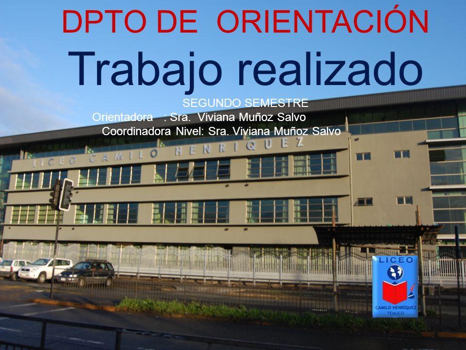 DPTO DE ORIENTACIÓN Trabajo realizado SEGUNDO SEMESTRE Orientadora : Sra. Viviana Muñoz Salvo Coordinadora Nivel: Sra. Viviana Muñoz Salvo