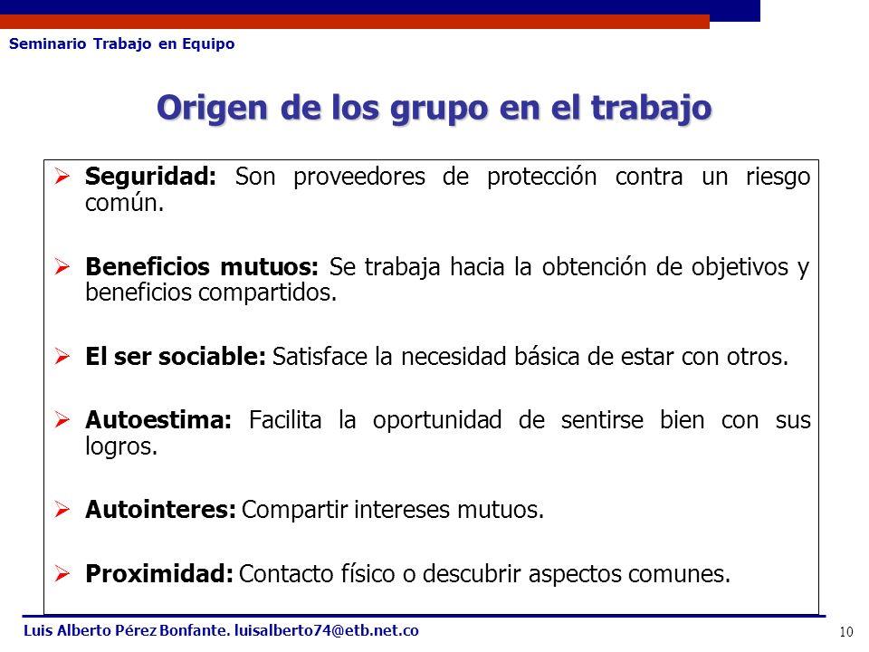 Seminario Trabajo en Equipo Luis Alberto Pérez Bonfante. luisalberto74@etb.net.co 10 Seguridad: Son proveedores de protección contra un riesgo común.