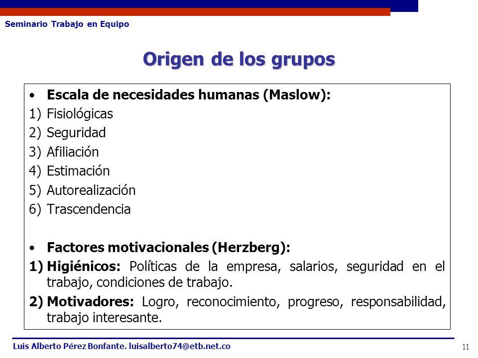 Seminario Trabajo en Equipo Luis Alberto Pérez Bonfante. luisalberto74@etb.net.co 11 Escala de necesidades humanas (Maslow): 1)Fisiológicas 2)Segurida