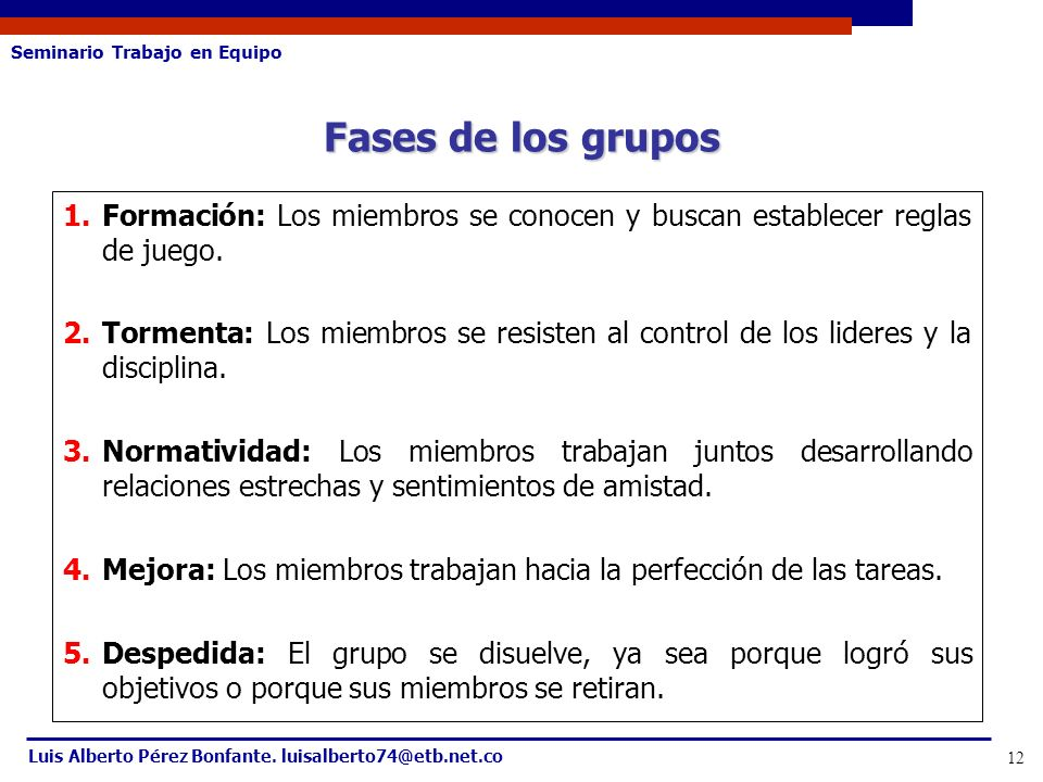Seminario Trabajo en Equipo Luis Alberto Pérez Bonfante. luisalberto74@etb.net.co 12 1.Formación: Los miembros se conocen y buscan establecer reglas d