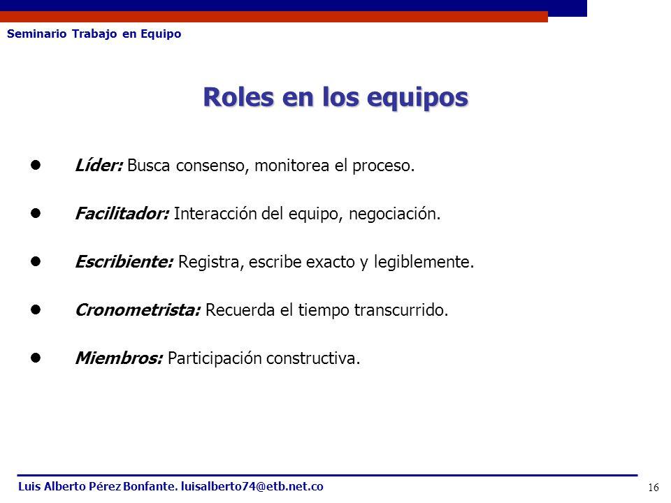 Seminario Trabajo en Equipo Luis Alberto Pérez Bonfante. luisalberto74@etb.net.co 16 Roles en los equipos Líder: Busca consenso, monitorea el proceso.