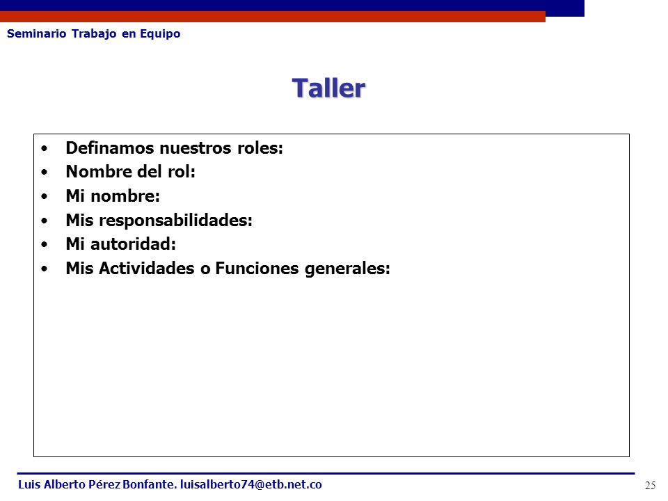 Seminario Trabajo en Equipo Luis Alberto Pérez Bonfante. luisalberto74@etb.net.co 25 Definamos nuestros roles: Nombre del rol: Mi nombre: Mis responsa