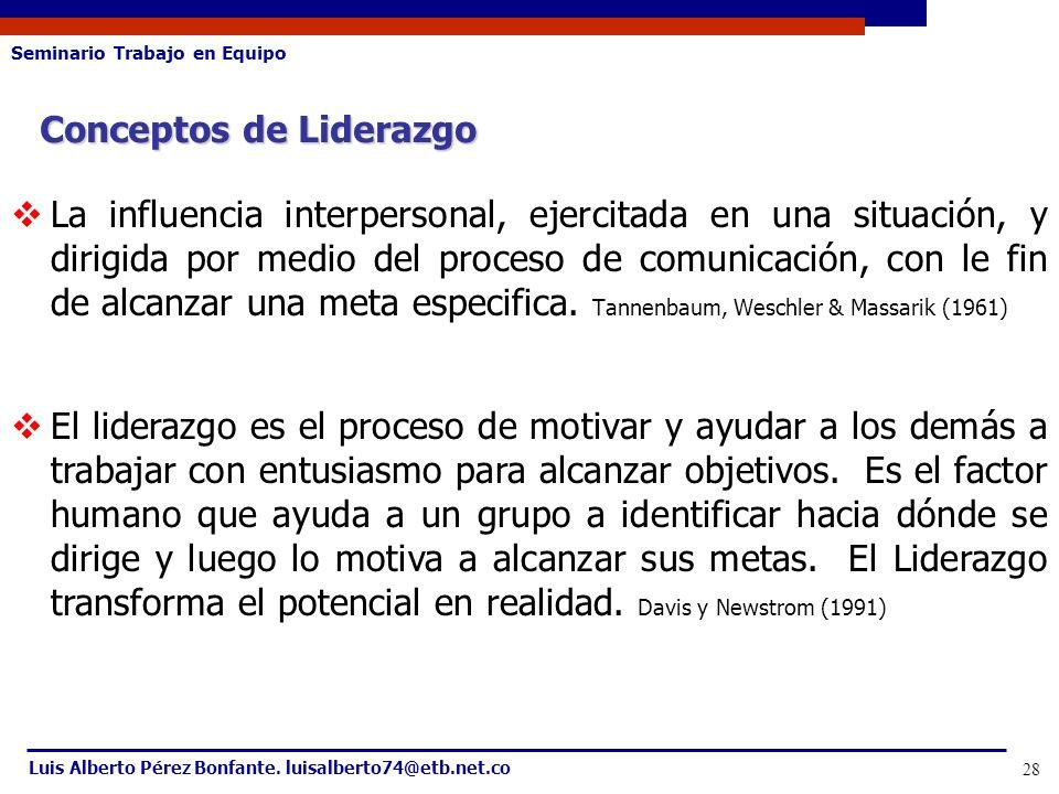 Seminario Trabajo en Equipo Luis Alberto Pérez Bonfante. luisalberto74@etb.net.co 28 Conceptos de Liderazgo La influencia interpersonal, ejercitada en