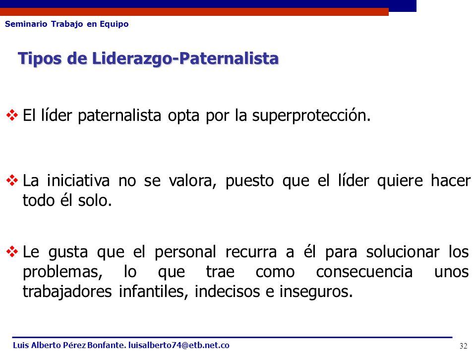 Seminario Trabajo en Equipo Luis Alberto Pérez Bonfante. luisalberto74@etb.net.co 32 Tipos de Liderazgo-Paternalista El líder paternalista opta por la