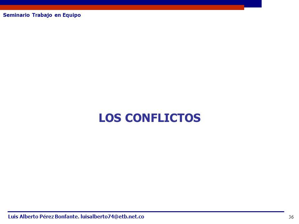Seminario Trabajo en Equipo Luis Alberto Pérez Bonfante. luisalberto74@etb.net.co 36 LOS CONFLICTOS