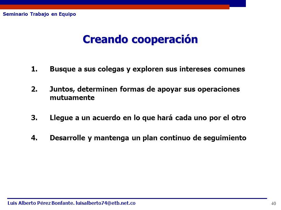 Seminario Trabajo en Equipo Luis Alberto Pérez Bonfante. luisalberto74@etb.net.co 40 1.Busque a sus colegas y exploren sus intereses comunes 2.Juntos,