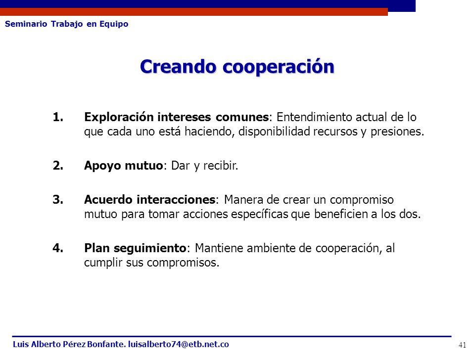 Seminario Trabajo en Equipo Luis Alberto Pérez Bonfante. luisalberto74@etb.net.co 41 1.Exploración intereses comunes: Entendimiento actual de lo que c