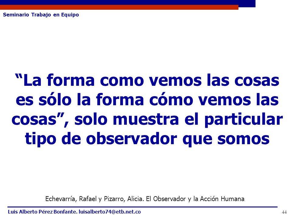 Seminario Trabajo en Equipo Luis Alberto Pérez Bonfante. luisalberto74@etb.net.co 44 La forma como vemos las cosas es sólo la forma cómo vemos las cos