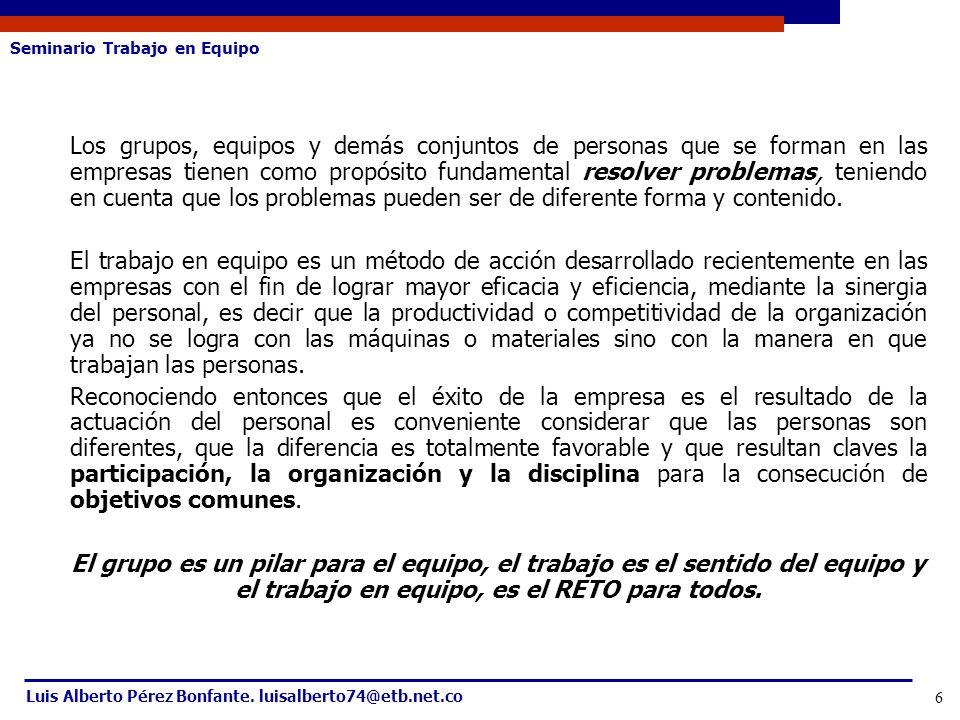 Seminario Trabajo en Equipo Luis Alberto Pérez Bonfante. luisalberto74@etb.net.co 6 Los grupos, equipos y demás conjuntos de personas que se forman en
