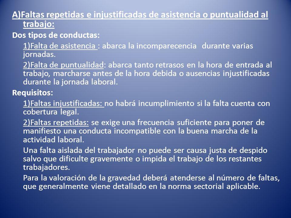 A)Faltas repetidas e injustificadas de asistencia o puntualidad al trabajo: Dos tipos de conductas: 1)Falta de asistencia : abarca la incomparecencia