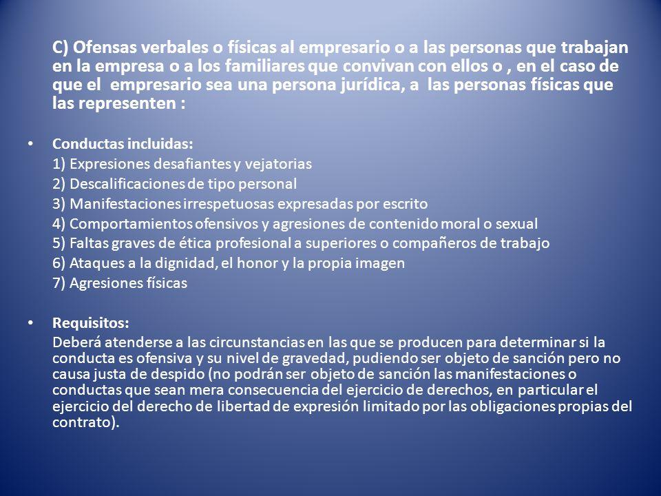 C) Ofensas verbales o físicas al empresario o a las personas que trabajan en la empresa o a los familiares que convivan con ellos o, en el caso de que