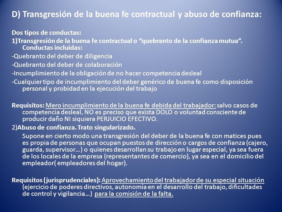 D) Transgresión de la buena fe contractual y abuso de confianza: Dos tipos de conductas: 1)Transgresión de la buena fe contractual o quebranto de la c