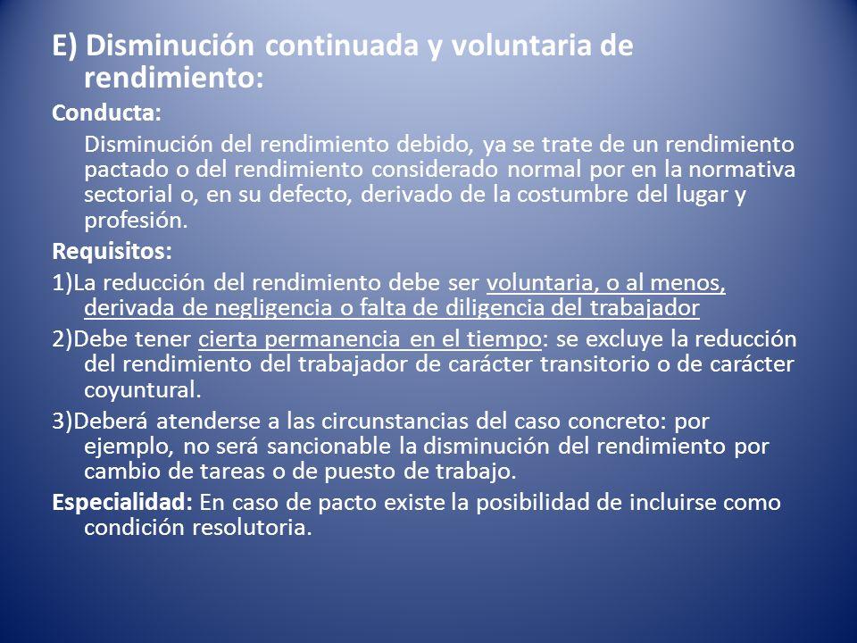 E) Disminución continuada y voluntaria de rendimiento: Conducta: Disminución del rendimiento debido, ya se trate de un rendimiento pactado o del rendi