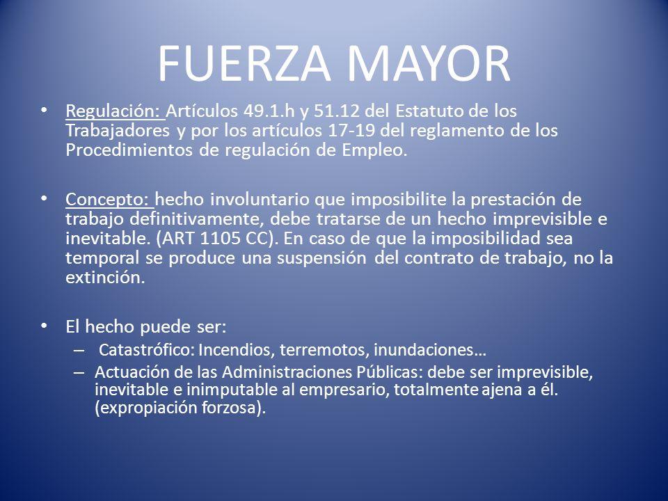 FUERZA MAYOR Regulación: Artículos 49.1.h y 51.12 del Estatuto de los Trabajadores y por los artículos 17-19 del reglamento de los Procedimientos de r