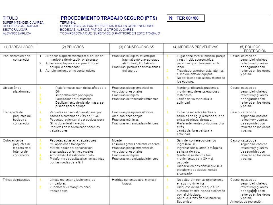14 TITULO: PROCEDIMIENTO TRABAJO SEGURO (PTS) N ° TER 001/08 SUPERINTENDENCIA/AREA: TERMINAL DESCRIPCION TRABAJO: CONSOLIDACION PAQUETES DE MADERA EN CONTENEDORES SECTOR/LUGAR: BODEGAS, ALEROS, PATIOS U OTROS LUGARES ALCANCES/APLICA: TODA PERSONA QUE SUPERVISE O PARTICIPE EN ESTE TRABAJO (1) TAREA/LABOR(2) PELIGROS(3) CONSECUENCIAS(4) MEDIDAS PREVENTIVAS(5) EQUIPOS PROTECCION Posicionamiento de contenedor 1.