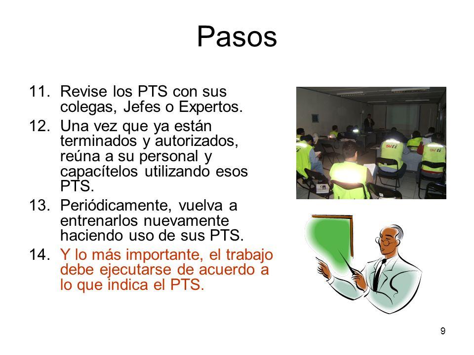 9 Pasos 11.Revise los PTS con sus colegas, Jefes o Expertos. 12.Una vez que ya están terminados y autorizados, reúna a su personal y capacítelos utili