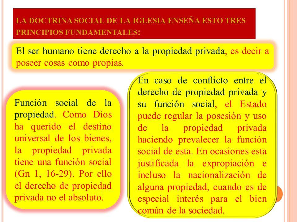 5. LA PROPIEDAD PRIVADA El Papa Juan XXIII enseña en la encíclica Mater et Magistra que el derecho de propiedad privada tiene su fundamento en la ley