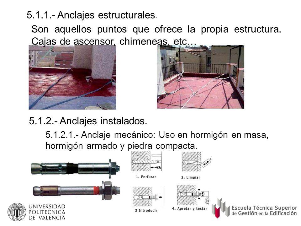 5.1.1.- Anclajes estructurales. 5.1.2.- Anclajes instalados. 5.1.2.1.- Anclaje mecánico: Uso en hormigón en masa, hormigón armado y piedra compacta. S