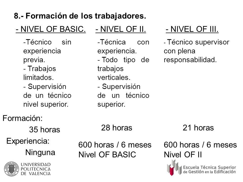 8.- Formación de los trabajadores. - NIVEL OF BASIC.- NIVEL OF II.- NIVEL OF III. -Técnico sin experiencia previa. - Trabajos limitados. - Supervisión