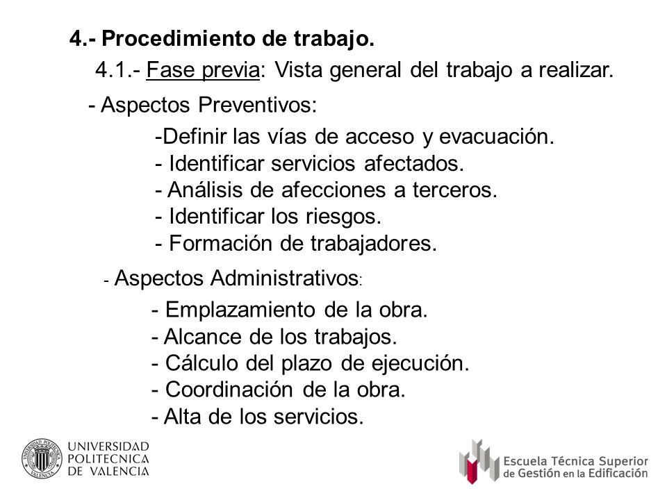 4.- Procedimiento de trabajo. 4.1.- Fase previa: Vista general del trabajo a realizar. - Aspectos Preventivos: -Definir las vías de acceso y evacuació