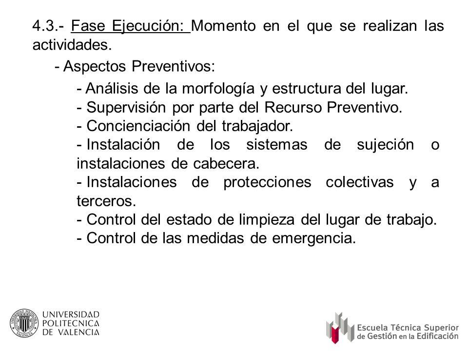 4.3.- Fase Ejecución: Momento en el que se realizan las actividades. - Aspectos Preventivos: - Análisis de la morfología y estructura del lugar. - Sup