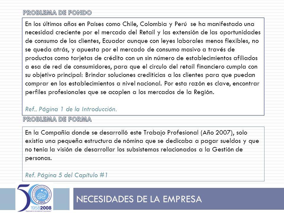 NECESIDADES DE LA EMPRESA En la Compañía donde se desarrolló este Trabajo Profesional (Año 2007), solo existía una pequeña estructura de nómina que se