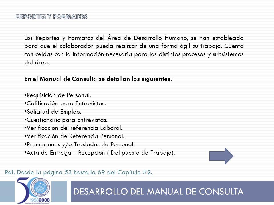 DESARROLLO DEL MANUAL DE CONSULTA Los Reportes y Formatos del Área de Desarrollo Humano, se han establecido para que el colaborador pueda realizar de