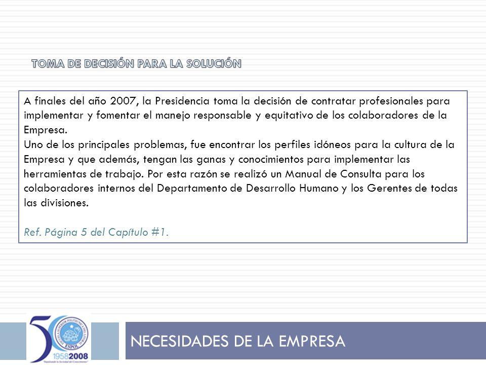 NECESIDADES DE LA EMPRESA A finales del año 2007, la Presidencia toma la decisión de contratar profesionales para implementar y fomentar el manejo res