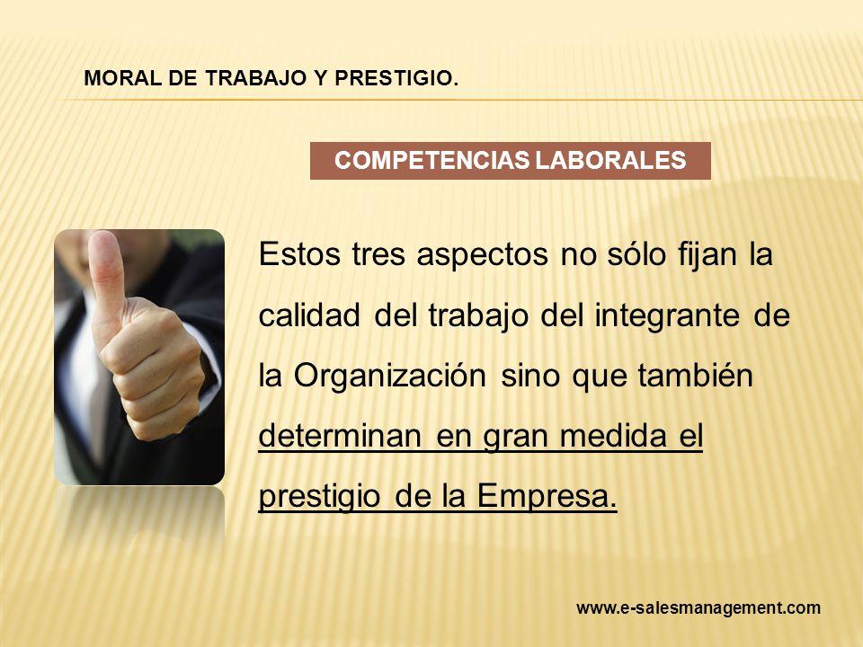Estos tres aspectos no sólo fijan la calidad del trabajo del integrante de la Organización sino que también determinan en gran medida el prestigio de