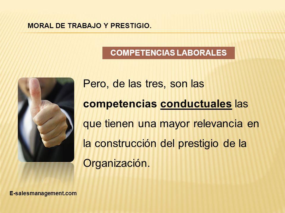 Pero, de las tres, son las competencias conductuales las que tienen una mayor relevancia en la construcción del prestigio de la Organización. COMPETEN