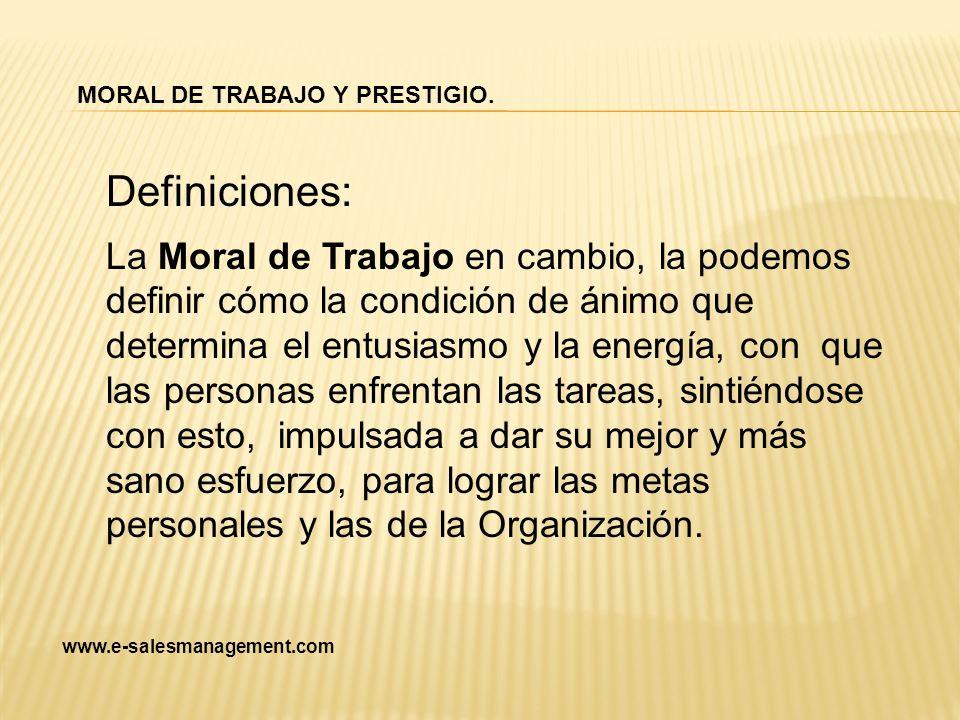 Definiciones: La Moral de Trabajo en cambio, la podemos definir cómo la condición de ánimo que determina el entusiasmo y la energía, con que las perso