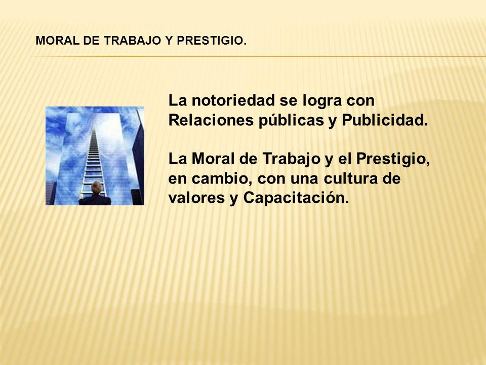MORAL DE TRABAJO Y PRESTIGIO. La notoriedad se logra con Relaciones públicas y Publicidad. La Moral de Trabajo y el Prestigio, en cambio, con una cult