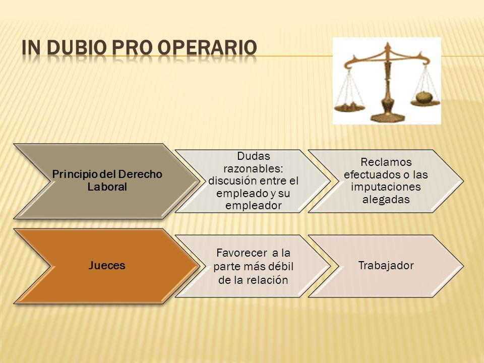 Principio del Derecho Laboral Dudas razonables: discusión entre el empleado y su empleador Reclamos efectuados o las imputaciones alegadas Jueces Favo