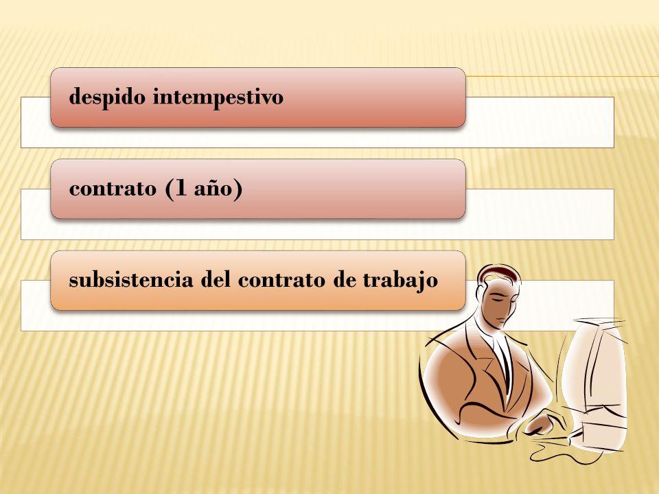 despido intempestivocontrato (1 año)subsistencia del contrato de trabajo