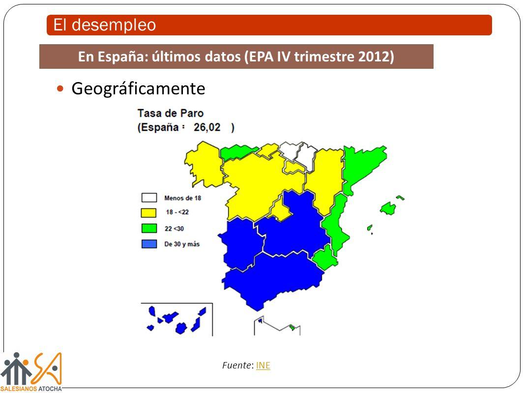 El desempleo Geográficamente Fuente: INEINE En España: últimos datos (EPA IV trimestre 2012)