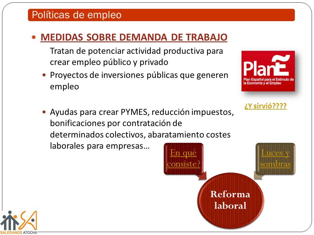 MEDIDAS SOBRE DEMANDA DE TRABAJO Tratan de potenciar actividad productiva para crear empleo público y privado Proyectos de inversiones públicas que ge
