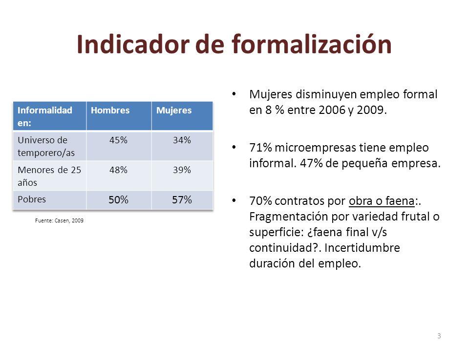 Indicador de formalización Mujeres disminuyen empleo formal en 8 % entre 2006 y 2009. 71% microempresas tiene empleo informal. 47% de pequeña empresa.