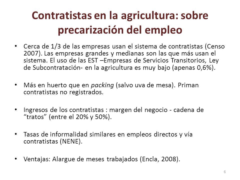 Contratistas en la agricultura: sobre precarización del empleo Cerca de 1/3 de las empresas usan el sistema de contratistas (Censo 2007). Las empresas