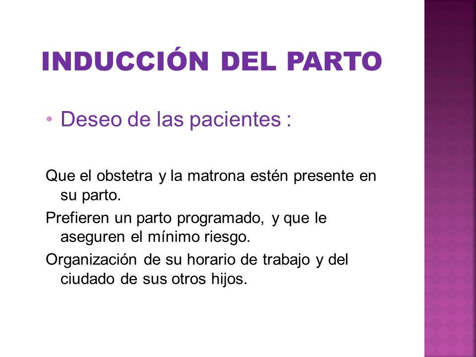 INDUCCIÓN DEL PARTO Deseo de las pacientes : Que el obstetra y la matrona estén presente en su parto. Prefieren un parto programado, y que le aseguren