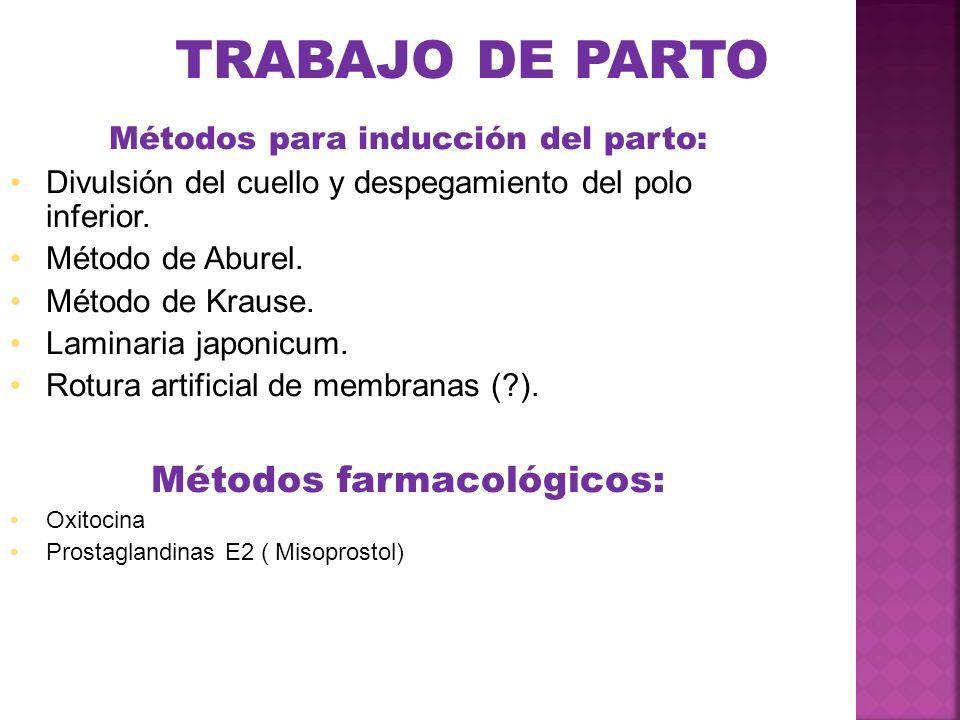 TRABAJO DE PARTO Métodos para inducción del parto: Divulsión del cuello y despegamiento del polo inferior. Método de Aburel. Método de Krause. Laminar