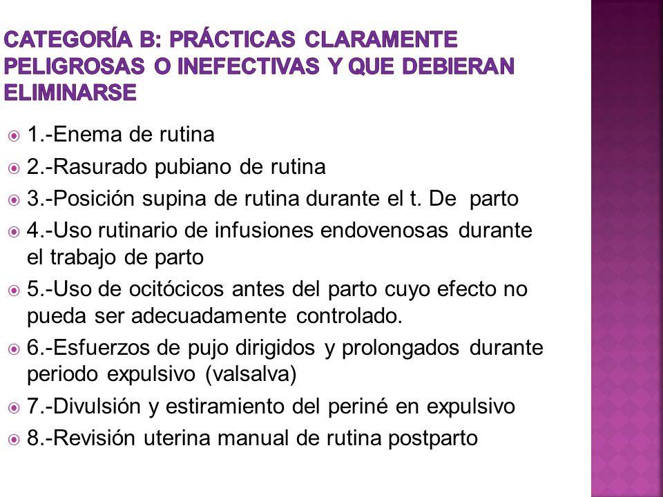 1.-Enema de rutina 2.-Rasurado pubiano de rutina 3.-Posición supina de rutina durante el t. De parto 4.-Uso rutinario de infusiones endovenosas durant