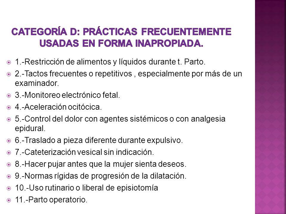 1.-Restricción de alimentos y líquidos durante t. Parto. 2.-Tactos frecuentes o repetitivos, especialmente por más de un examinador. 3.-Monitoreo elec