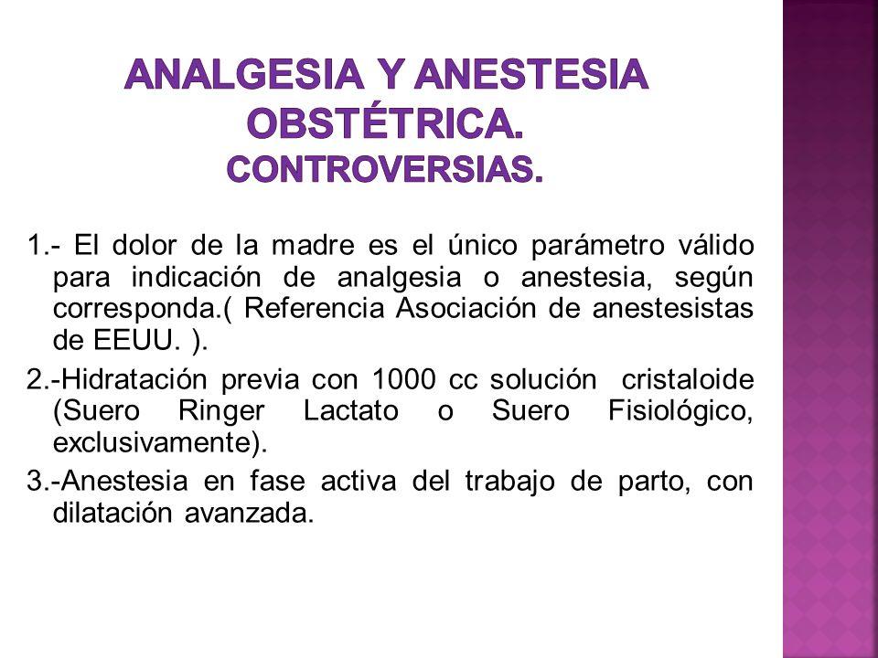1.- El dolor de la madre es el único parámetro válido para indicación de analgesia o anestesia, según corresponda.( Referencia Asociación de anestesis