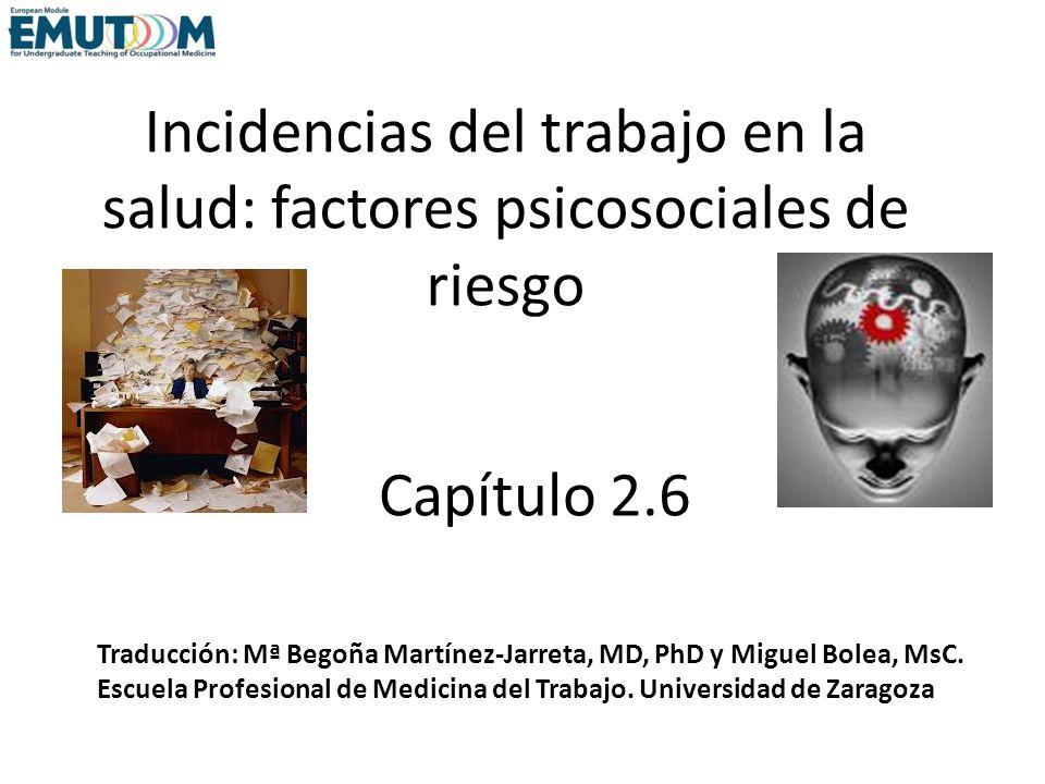 Incidencias del trabajo en la salud: factores psicosociales de riesgo Capítulo 2.6 Traducción: Mª Begoña Martínez-Jarreta, MD, PhD y Miguel Bolea, MsC