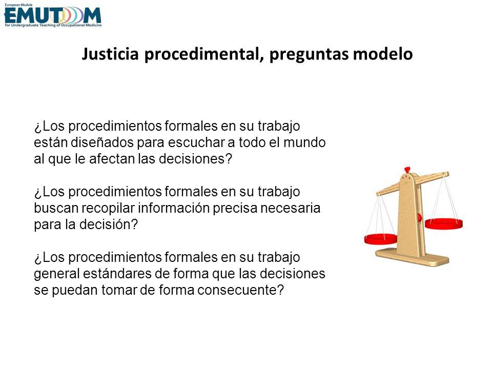 Justicia procedimental, preguntas modelo ¿Los procedimientos formales en su trabajo están diseñados para escuchar a todo el mundo al que le afectan la