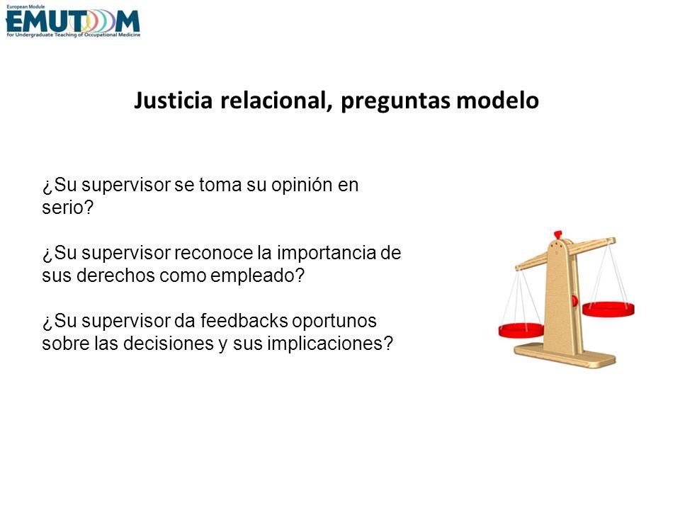 Justicia relacional, preguntas modelo ¿Su supervisor se toma su opinión en serio? ¿Su supervisor reconoce la importancia de sus derechos como empleado