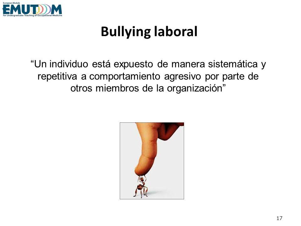 17 Un individuo está expuesto de manera sistemática y repetitiva a comportamiento agresivo por parte de otros miembros de la organización Bullying lab