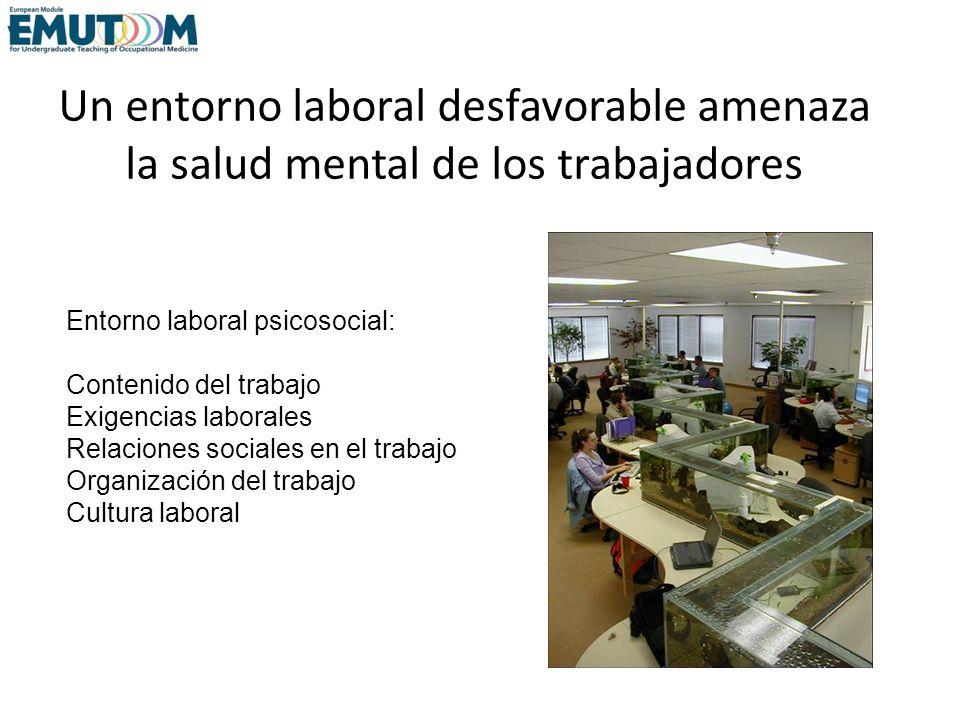 Un entorno laboral desfavorable amenaza la salud mental de los trabajadores Entorno laboral psicosocial: Contenido del trabajo Exigencias laborales Re